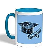 كوب سيراميك للقهوة بتصميم شعار يوم التخرج، لون تركواز