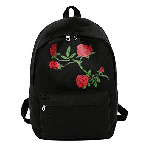 Prosperveil Preppy Chic Women Canvas Flower Embroidery Large Capacity School Backpack Black