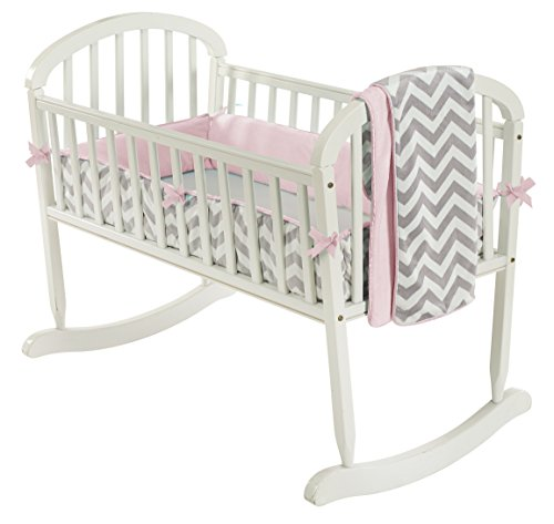 Baby Doll Bedding Minky Chevron Cradle Bedding Set, Pink ()