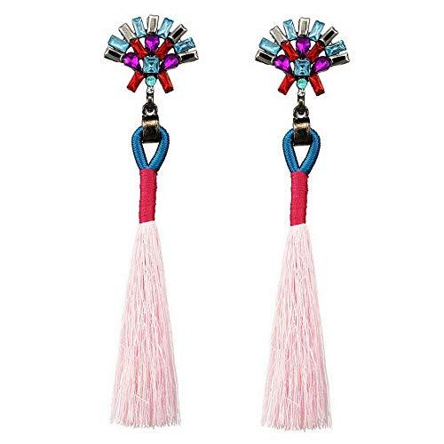 Wausa Women Bohemian Boho Rhinestone Long Tassel Fringe Dangle Drop Earrings Fashion | Model ERRNGS - 7311 | ()