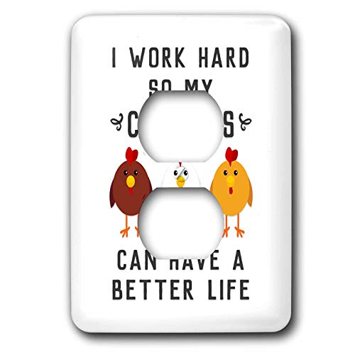 3dRose Janna Salak Designs Text Art - I Work Hard So My Chickens Can Have A Better Life - Light Switch Covers - 2 plug outlet cover (lsp_289656_6) by 3dRose (Image #1)