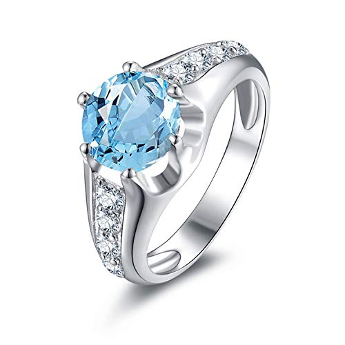 AMDXD Jewelry 925 Sterling Silver Anniversary Rings for Women Blue Round Cut Topaz Round Ring Size 6.5 -