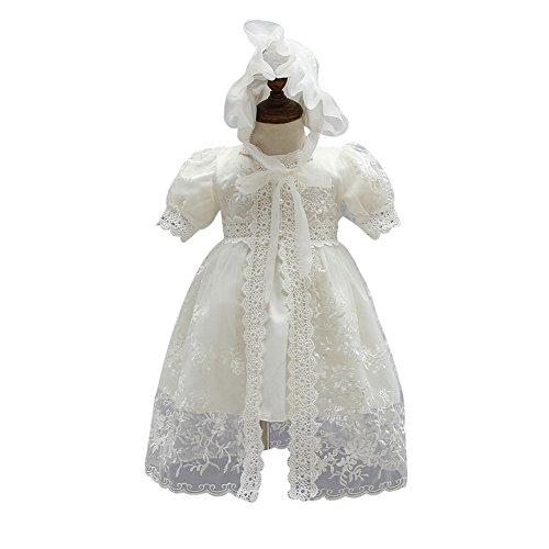 ZAMME Vestido de niña de niña de bautizo bautizos vestido de niña de flor El Arroz Blanco