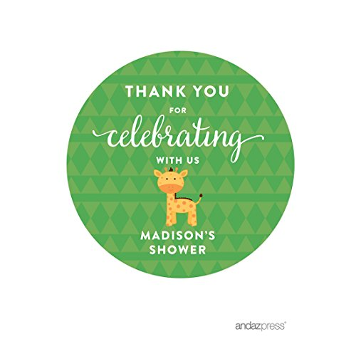 Andaz Press Jungle Safari Baby Shower Party Collection with Monkey, Giraffe, Lion, Personalized Round Circle Label Stickers, Madison's Shower, Your Text Here, 40-Pack, Custom Made