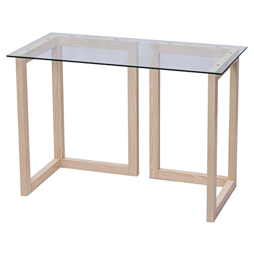 "COLIBROX>44"" Tempered Glass Top Console Desk Sofa Accent Table Wood Entryway Furniture>This Elegant Glass Table with Maple Wood Construction is Very Durable and Sturdy. This Multi-Functional"