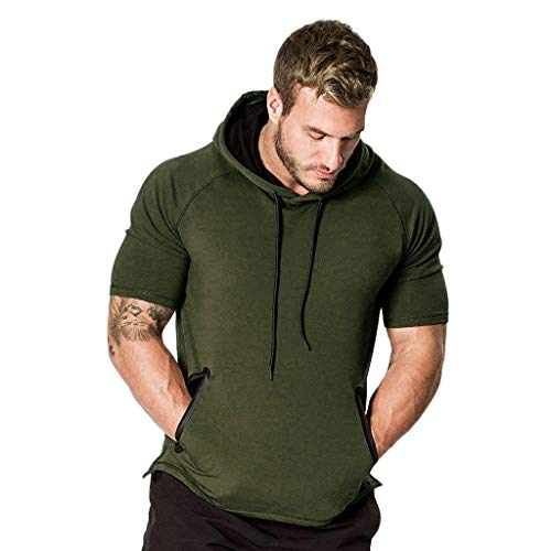RAINED-Men's Outerwear Light Hooded Sweatshirt Solid Short Sleeve Active Sportwear Workout Gym Training Hooded T-Shirt Army Green