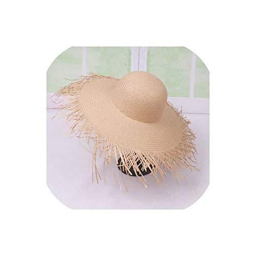 Sun Hat Wide Brim Straw Hat with Fringed Kentucky Derby Headwear Floppy Big Brim Hat,Khaki - Fringed Party Hat