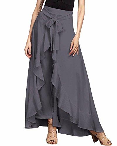 GIKING Women Ruffle Pants Full Length Split High Waist Retro Maxi Chiffon Long Skirt Gray XL Long Length Pant