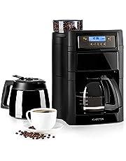Klarstein Aromatica II koffiemachine met molen - filterkoffiemachine, 1,25 liter glazen kan, 1,25 liter thermoskan, timer, verwarmingsplaat, incl. Permanent en actief koolfilter, zwart