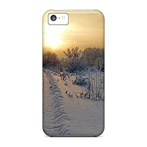 Hot Odwijdo3044uveGw Case Cover Protector For Iphone 5c- Sunset Over The Snow Covered Tracks by icecream design