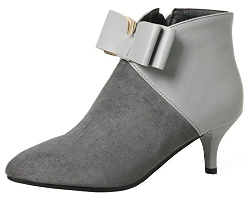 Mofri Women's Dressy Bowknot Side Zipper Short Boots Color Block Splicing Pointed Toe Kitten Heel Ankle Booties (Gray, 9.5 B(M) US)