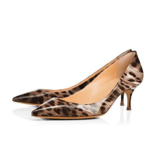 Fashion Wedding Leopard Women Low Dress Lady's Pointed UMEXI for Toe Pumps Heel Kitten Heel Gold Ztx4qwP