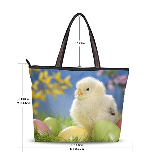 INGBAGS Fashion Large Tote Shoulder Bag Chickens and eggs Pattern Women Ladies Handbag (Chicken Egg Bag)