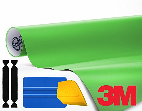 3M 1080 Matte Apple Green Air-Release Vinyl Wrap Roll Including Toolkit (1ft x 5ft) -