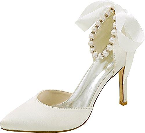 Noble Satin 22B Ivory Ladies Mid Strap Bride Party EU 37 Heel Pearl Dress 0608 Ankle Pumps Toe Pointed Wedding Bridesmaid qA4Eggw