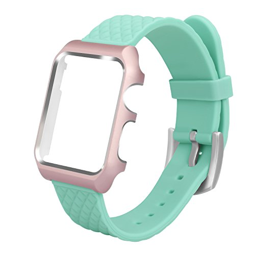 ALNBO 38mm Apple Watch Band Soft Silicone Replacement Sport Band with Case for Apple Watch Series 2 Series 1 Sport Edition