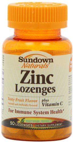 Sundown Naturals Zinc Lozenges Plus Vitamin C & Echinacea, Fruit Flavor, 50 Lozenges (Pack of 4)