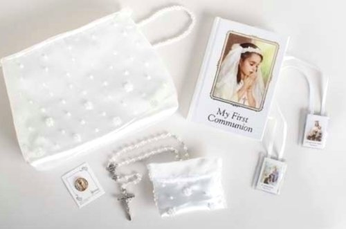Roman My First Communion Girl Prayer Book Rosary Pin Purse 6 Piece Set -
