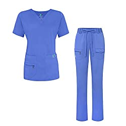 Adar Indulgence Jr. Fit Women's Scrub Set - Enhanced V-neck Topmulti Pocket Pants - 4400 - Ceil Blue - S