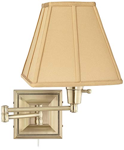 Tan Square-Cut Shade Brass Beaded Plug-in Swing Arm Wall Lamp - Barnes and Ivy