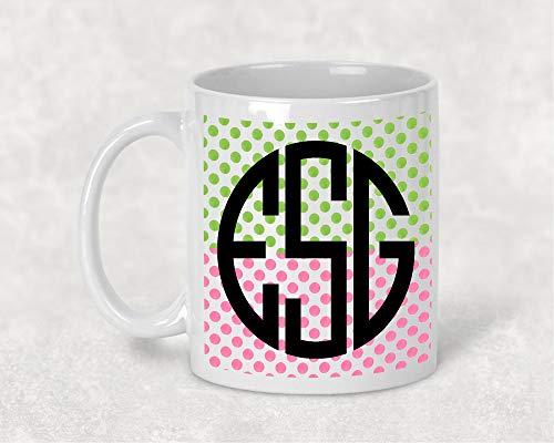 Preppy Monogrammed Gifts - Dason Polka Dot Personalized Monogram Mug Preppy Monogrammed Mug Polka Dot Wrap Bridesmaid Monogram Gift For Her Coffee Lover Monogram Lover