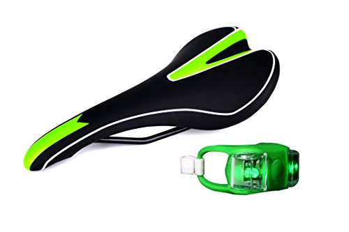 Prontezza Cycles Mountain Bike Seat With Green Frog Light | Comfortable Mountain Bike Saddle | Great For Sport Road Cycling and MTB Riding | Black and Green