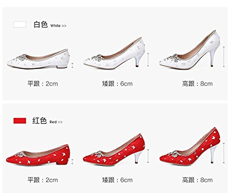 Bride Shoes Wedding Size White 9 White Shoes Heel Sandals Red 8Cm Heel Big VIVIOO Heel Low Prom Heel Women Shoe High Single Shoes Super Diamond Female ACtxqnXXwf