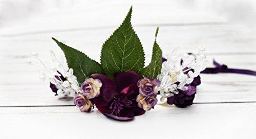 Fairy Crown - Purple Flower Crown - Fairy Costume - Elven Crown - Woodland Fairy - Dark Fairy Costume - Halloween Fairy Costume - Greenery -