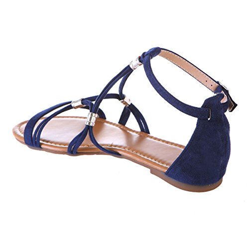 Bleu suédine multibrides Modeuse en Plates Sandales à La Z0zRqP7wnx