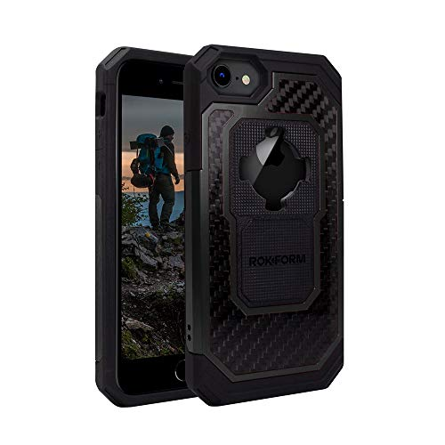 Rokform Fuzion Pro Series [iPhone 8/7/6/6s] Protective Aluminum & Carbon Fiber Magnetic case with Twist Lock (Black)