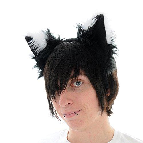 Pawstar Black Furry Fox Ear Headband – White Tips