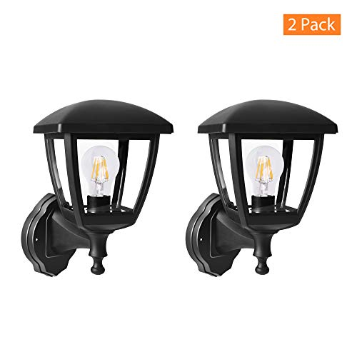 FUDESY Transitional Style LED Outdoor Wall Lantern, Black Polypropylene Plastic Porch Lamp with Clear Acrylic Lenses, Waterproof Porch Light Fixtures (2 Pack),P406