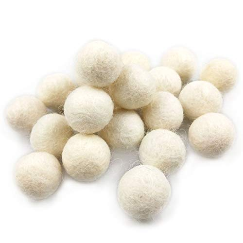 Wool Felt Balls Handmade White Wool Ball 50pcs 20mm (0.79 inch) Wool Pom Poms Beads Ideal for Manual Craft DIY Making