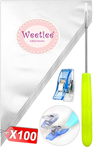 Weetiee Tipless Piping Bags - 100pcs 12-Inch Disposable Piping Pastry Bag for Royal Icing/Cookies Decorating - Best Frosting Icing Bags Cookie/Cake Decorating Tools - Bonus 2 Clips &1 Scriber Needle