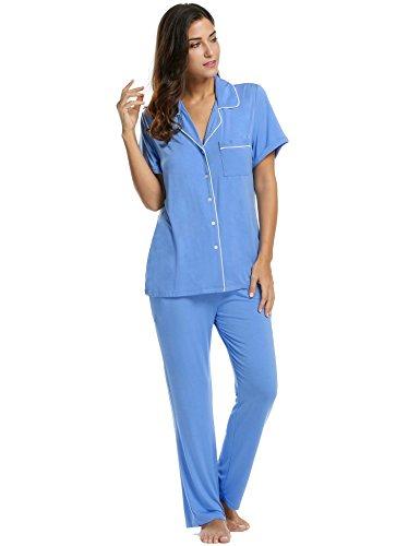 Avidlove Pajamas Set Short Sleeve Soft Sleepwear Pjs Women Button Down Nightwear with Long Pants S-XXL ()