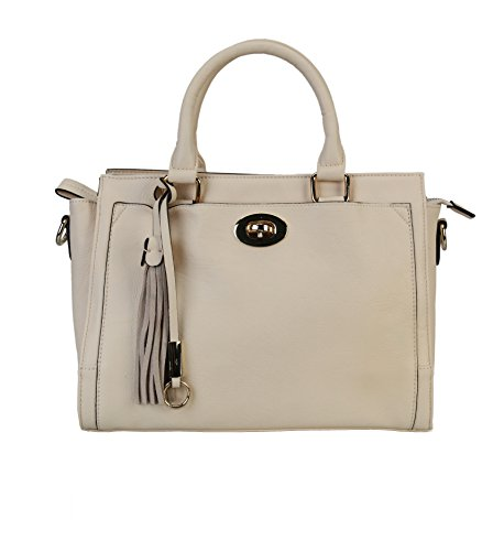 Fraless Collection Metal Buckle Front Pendant Zipper Closure Briefcase Satchel Handbag Ivory