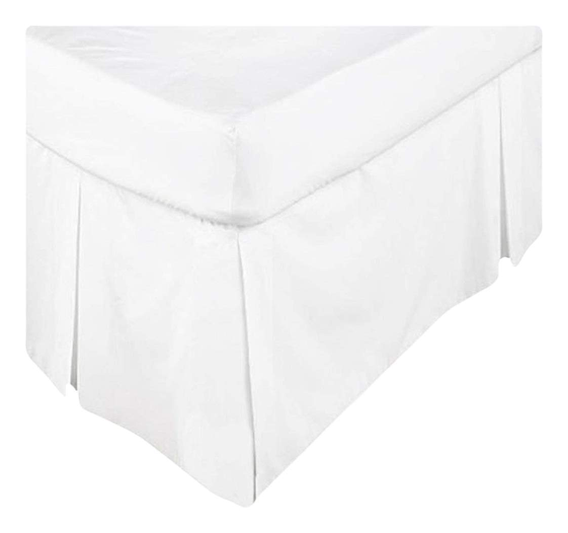 Scala Hotel Design Thread Count 650 Egyptian Cotton Tailored Split Corner Bed Skirts Twin Size Solid Drop Length 12 Inches White