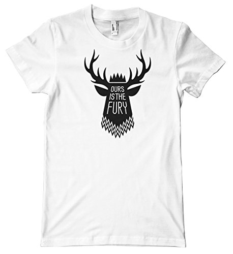 Baratheon Motto: Ours Is the Fury Premium T-Shirt, White, XX-Large - Fury Premium T-shirt