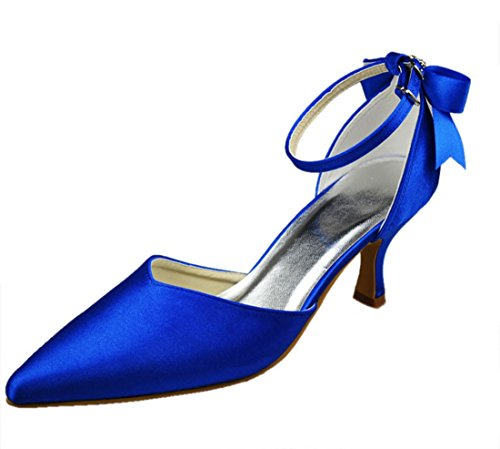 High Satin Minishion Evening 7cm Heel Party Bridal Stiletto Ribbon Pumps Strappy Womens Wedding Blue Heel nrEwxIrq
