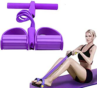 Diaotec Pedal Resistance Band - 4-Tube Natural Latex Sit-up Bodybuilding Expander Elastic Pull Rope Fitness Equipment for Abdomen, Waist, Arm, Yoga Stretching Slimming Training