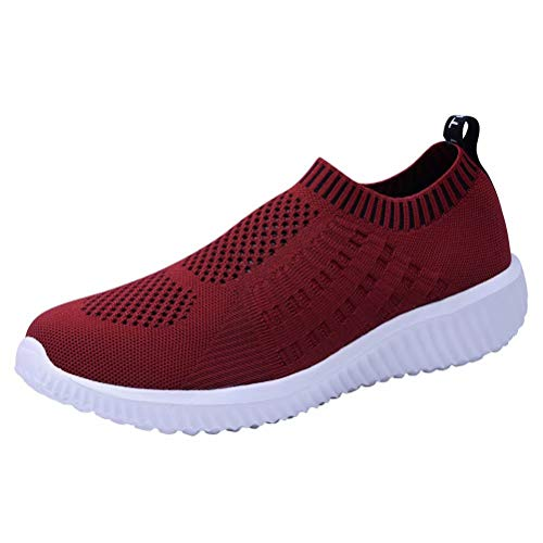 konhill Women's Lightweight Casual Walking Athletic Shoes Breathable Mesh Work Slip-on Sneakers 9 US Burgundy,40 ()