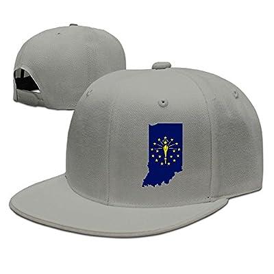 WellShopping Map Of Indiana Flag Design Solid Flat Bill Hip Hop Snapback Baseball Cap Unisex sunbonnet Hat.