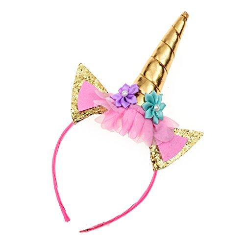 Clasp One (Love Sweety Girls Golden Sliver Unicorn Ears Headband Rose Flower Cosplay Hair Clasp (1# Golden))