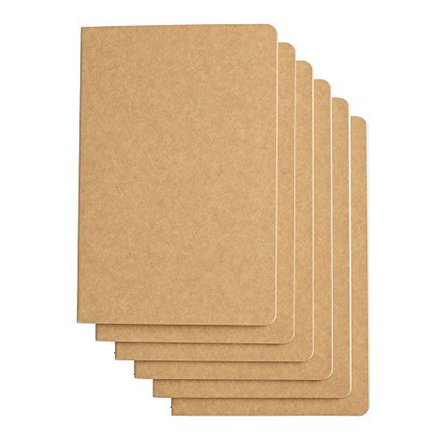 Travel Journal Set With 6 Notebook Journals for Travelers - Kraft Brown Soft Cover - A5 Size - 210 mm x 140 mm - 60 Lined Pages/30 Sheets
