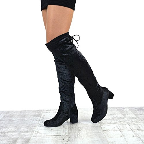 Knee Lace Heel Velvet GLAM Ladies The Womens High Over up Boots Black Long Velvet ESSEX High Thigh Low wXq7xwpA