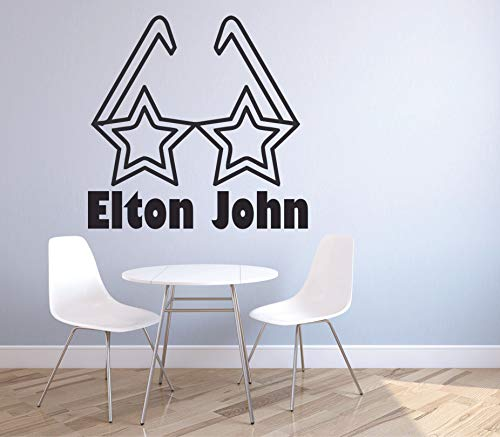 Elton John Star Glasses Wall Decals Music Icon Artist Song Lyrics Singer Musician Rock Pop for Boys/Girls Art Room Music Room Studio Home Bedroom Vinyl Wall Art Decals Decoration Size (10x10 inch)