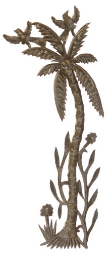 Le Primitif Galleries Haitian Recycled Steel Oil Drum Outdoor Decor, 9.25 by 22.75-Inch, Palm Tree