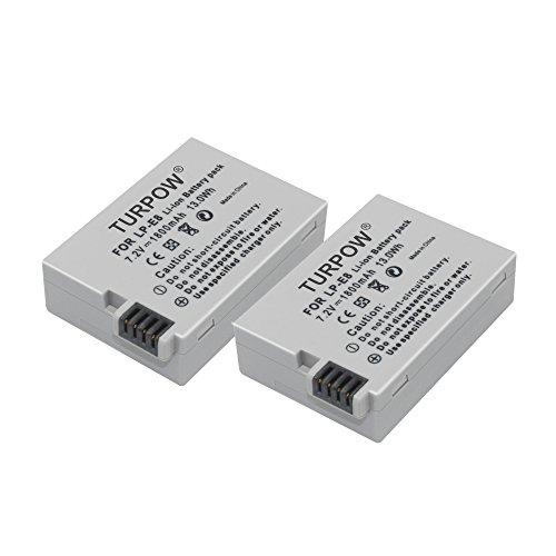 LP E8 Battery-TURPOW 2 Pack 7.4V 1800mAh Li-ion Replacement Canon LP-E8 Battery for Canon Rebel T3i T2i T4i T5i EOS 600D 550D 650D 700D Kiss X5 X4 Kiss X6 LC-E8E