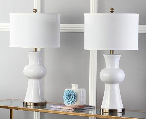 Safavieh Lighting Collection Lola Column White 30-inch Table Lamp (Set of 2)