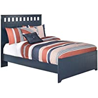 Ashley Furniture Signature Design - Leo Kids Bedset with Headboard & Footboard - Childrens Full Size Panel Bed - Navy Blue
